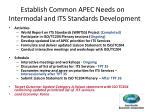 establish common apec needs on intermodal and its standards development