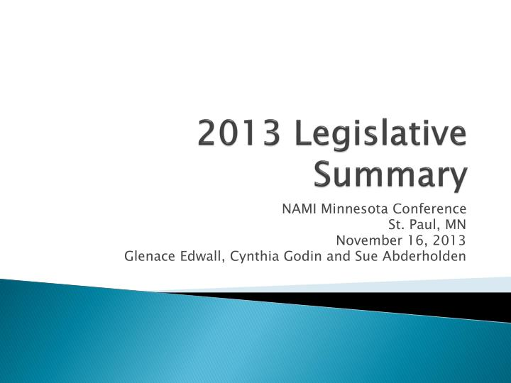 2013 legislative summary n.