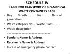 schedule iv label for transport of bio medical waste containers bags