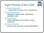 eight priorities of the lcap