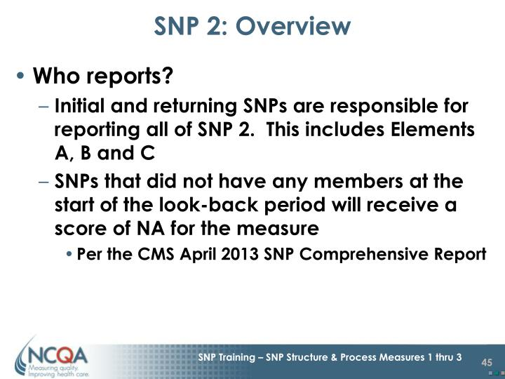SNP 2: Overview