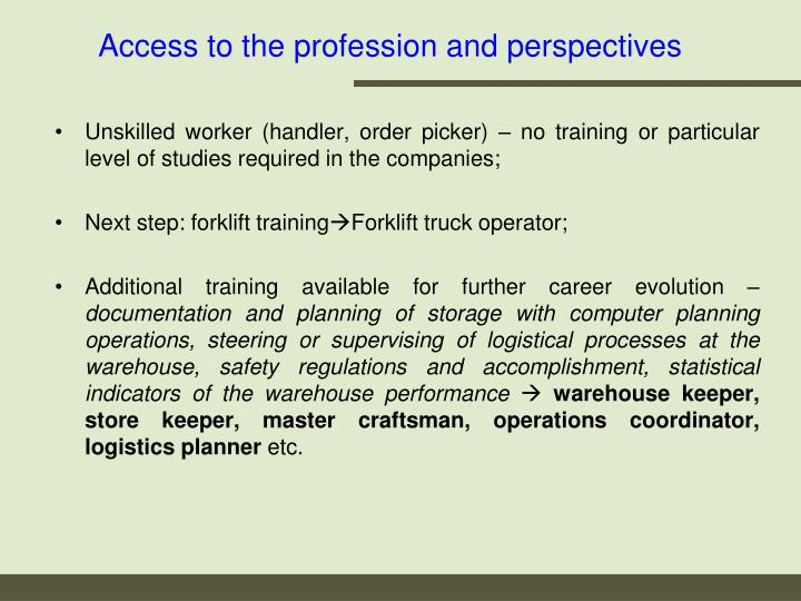 Access to the profession and perspectives