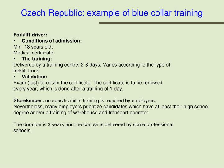 Czech Republic: example of blue collar training