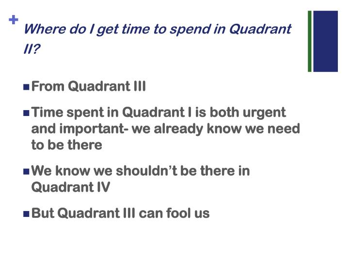 Where do I get time to spend in Quadrant II?