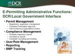 e permitting administrative functions dcr local government interface