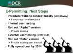 e permitting next steps