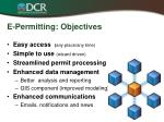 e permitting objectives