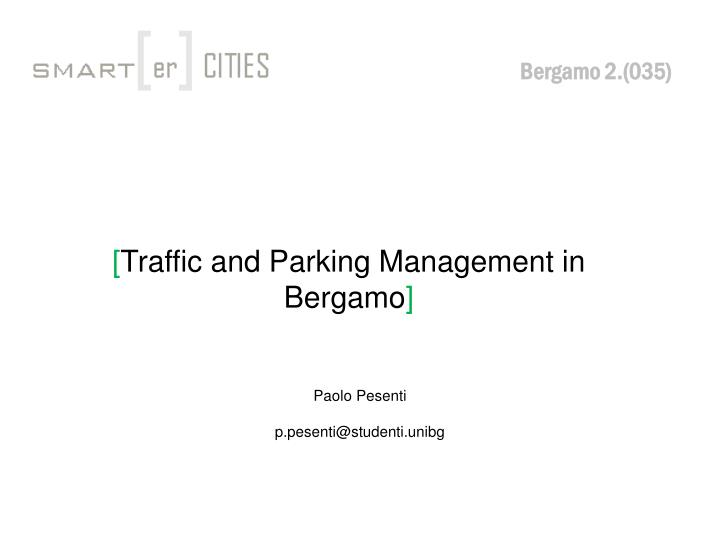 traffic and parking management in bergamo n.