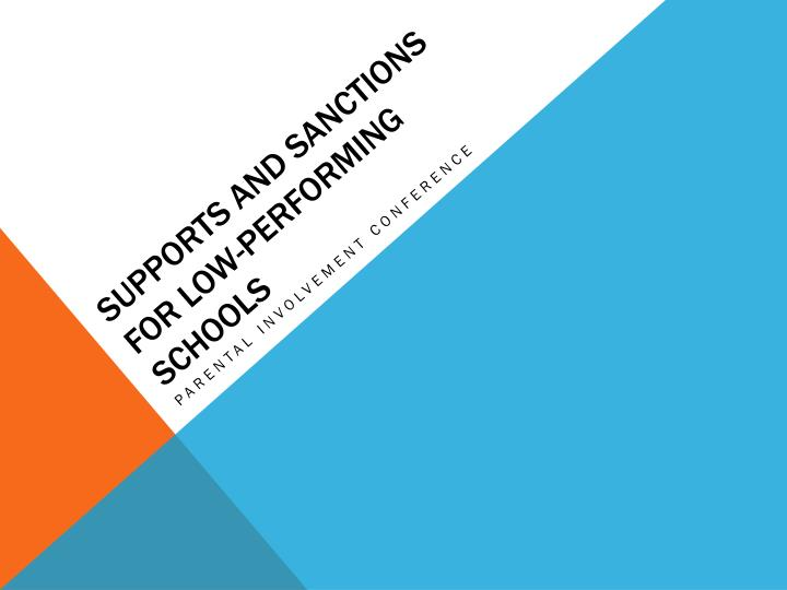 supports and sanctions for low performing schools n.