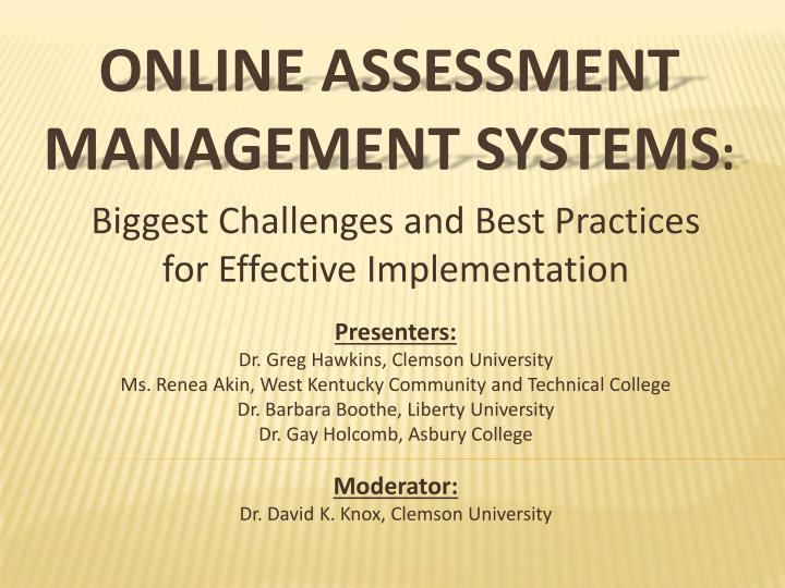 online assessment management systems n.