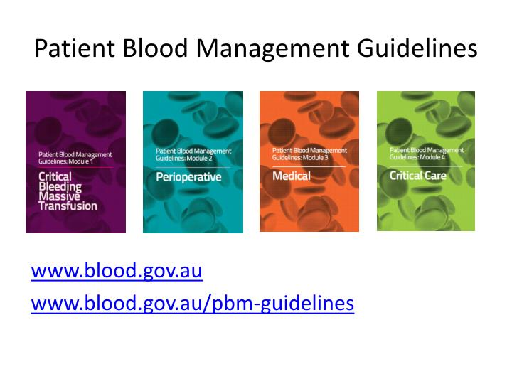 Patient blood management guidelines
