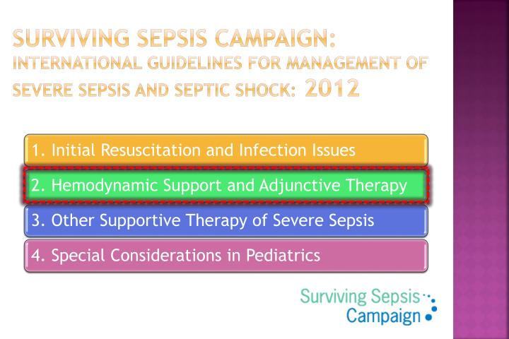 severe sepsis survival from hopelessness to Of the 2012 surviving sepsis campaign (ssc) guidelines for the management of severe sepsis and septic at a minimum, sepsis, severe sepsis, septic shock, sepsis syndrome, and critical illness similarly, de-escalation has also been associated with improved survival in several observational.