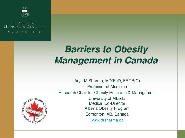 Barriers to obesity management in canada