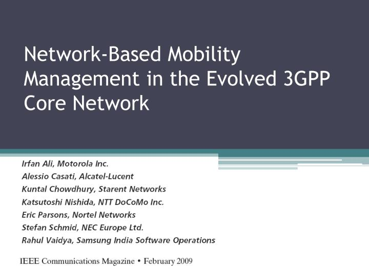 network based mobility management in the evolved 3gpp core network n.