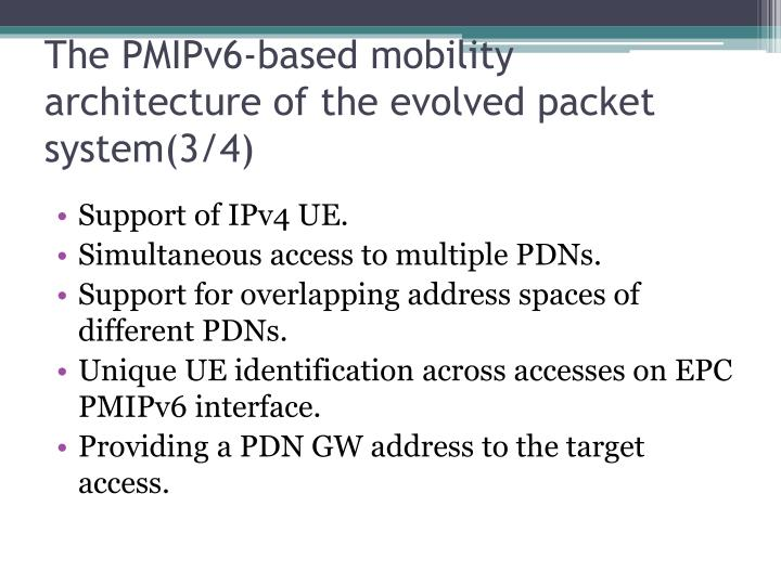 The PMIPv6-based mobility architecture of the evolved packet