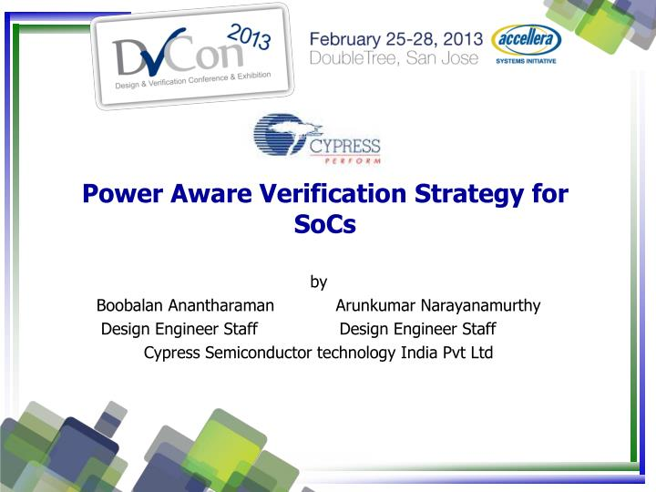 power aware verification strategy for socs n.