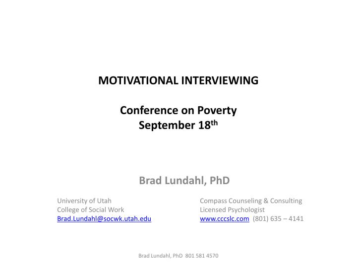 motivational interviewing conference on poverty september 18 th n.