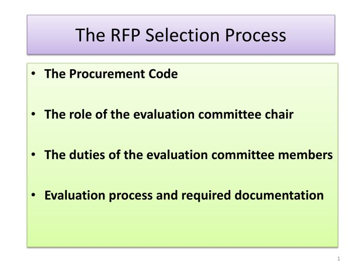 the rfp selection process n.