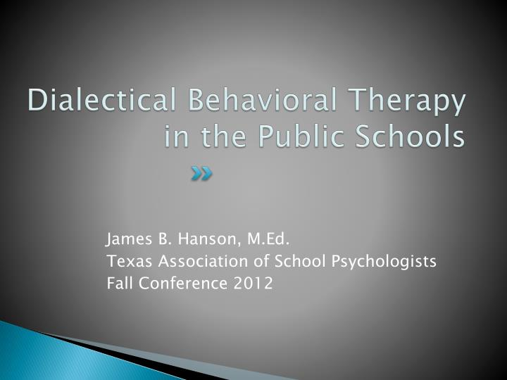 dialectical behavioral therapy in the public schools n.
