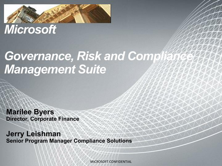 microsoft governance risk and compliance management suite n.