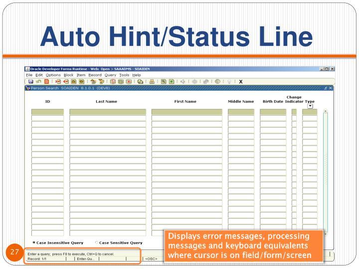 Auto Hint/Status Line