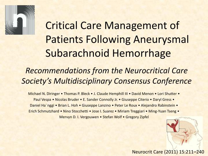 critical care management of patients following aneurysmal subarachnoid hemorrhage n.
