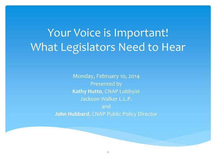 Your voice is important what legislators need to hear