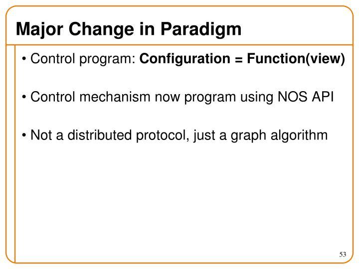 Major Change in Paradigm
