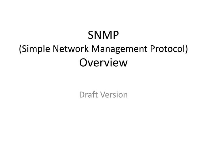 snmp simple network management protocol overview n.