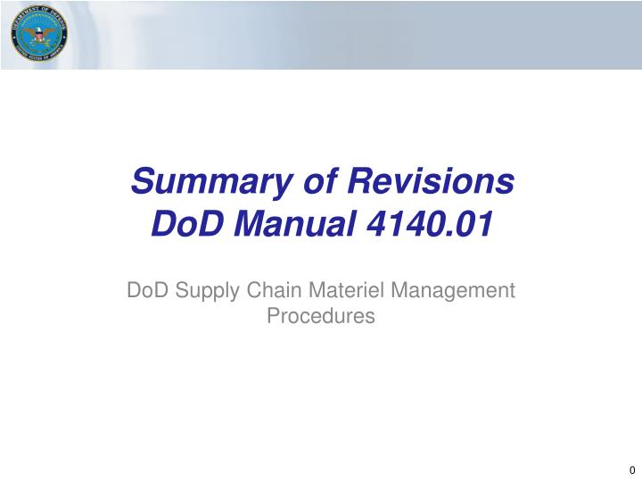 summary of revisions dod manual 4140 01 n.