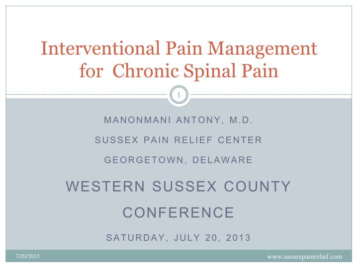 in terventio nal pain management for chronic spinal pain n.