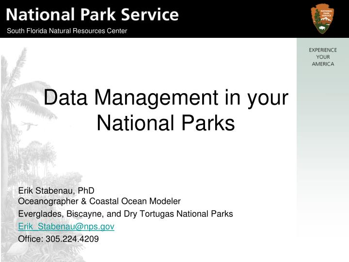 data management in your national parks n.