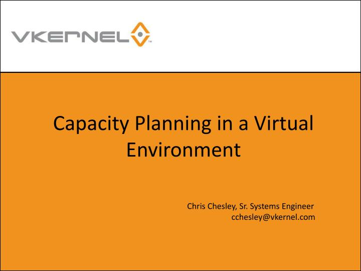 capacity planning in a virtual environment n.