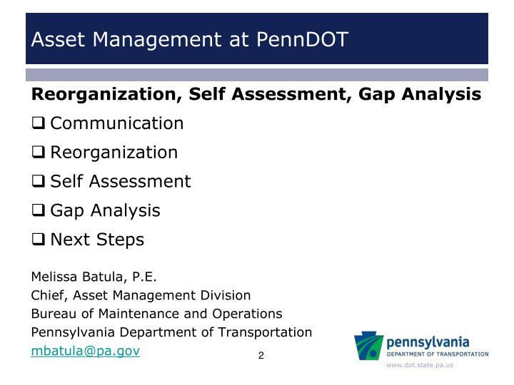Asset management at penndot