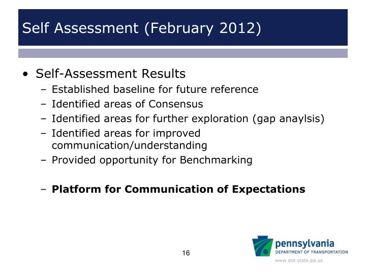 Self Assessment (February 2012)
