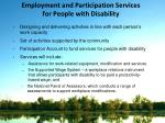 employment and participation services for people with disability