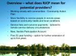 overview what does rjcp mean for potential providers