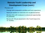 remote youth leadership and development corps cont