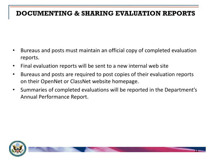 DOCUMENTING & SHARING EVALUATION REPORTS