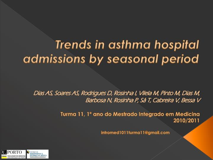 trends in asthma hospital admissions by seasonal period n.