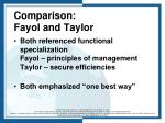 comparison fayol and taylor
