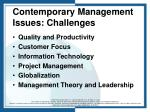 contemporary management issues challenges