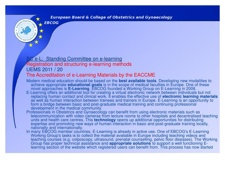SC e-L:  Standing Committee on e-learning