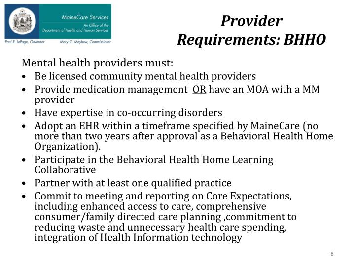 Provider Requirements: BHHO