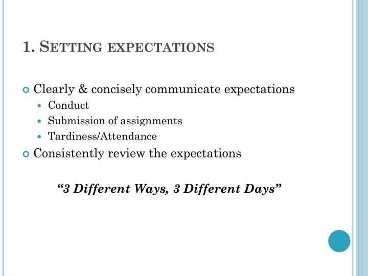 1. Setting expectations