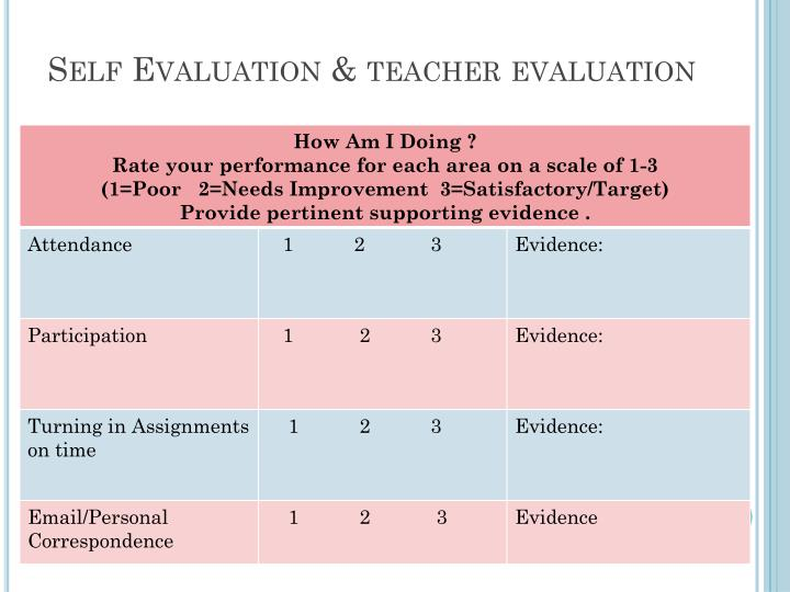 Self Evaluation & teacher evaluation