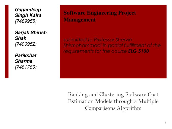 ranking and clustering software cost estimation models through a multiple comparisons algorithm n.