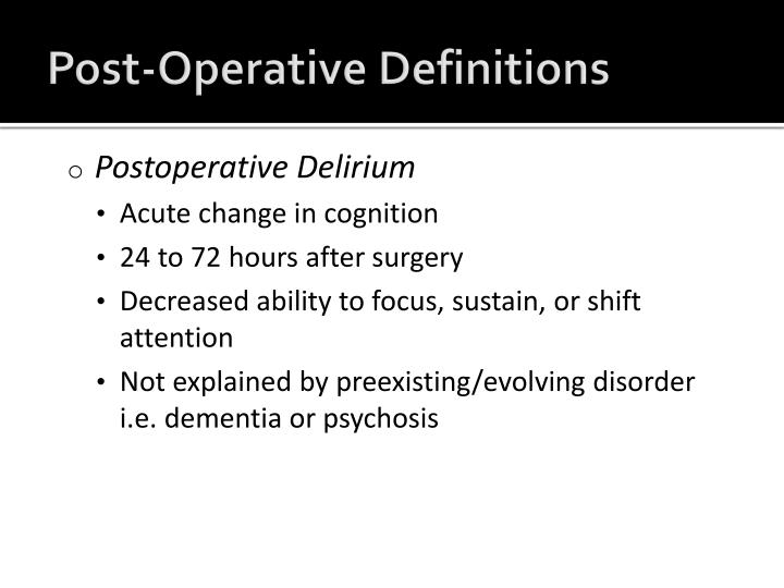 Post-Operative Definitions