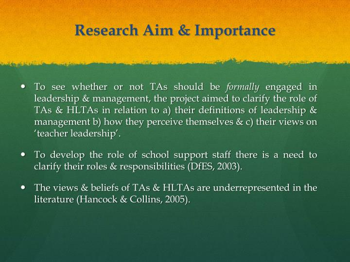 Research Aim & Importance
