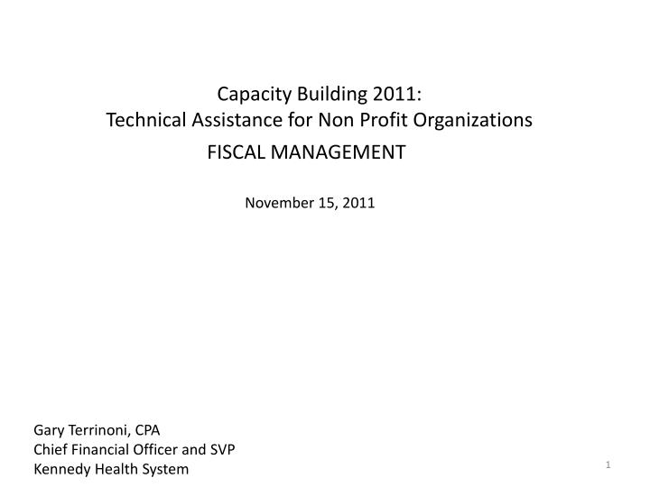 capacity building 2011 technical assistance for non profit organizations n.